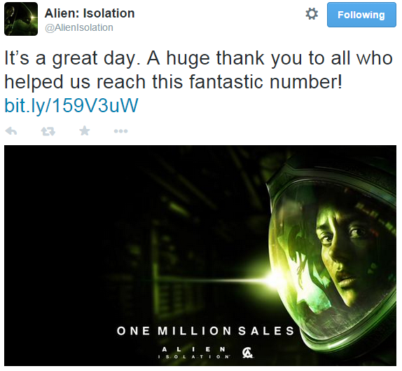 Alien Isolation Tweet