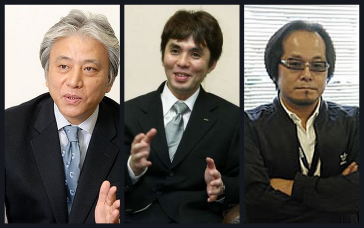 The executive team, Hideki Okamura (Left), Hisao Oguchi (Middle) and Takayuki Kawagoe (Right). These men have been responsible for risque games such as Segagaga, Jet Set Radio and also Sega Saturn and Dreamcast marketing in Japan. With these man, the unique corporate culuture of Sega would continue.