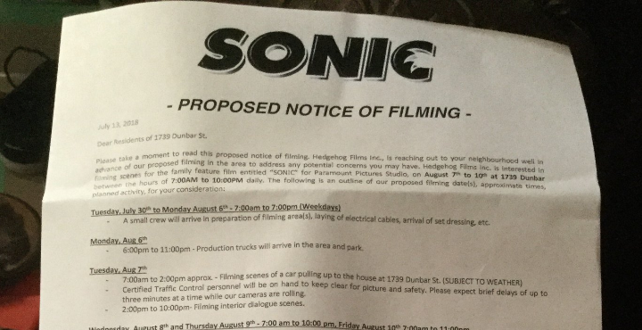 New Sonic The Hedgehog Movie Details Revealed Filming Location
