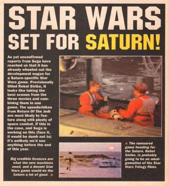 Unreleased beta for SEGA Saturn game Star Wars: Rebel Strike