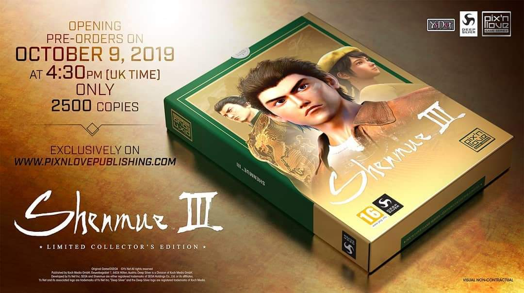 Pix'n Love Publishing doing their own Limited Collector's Edition of Shenmue III