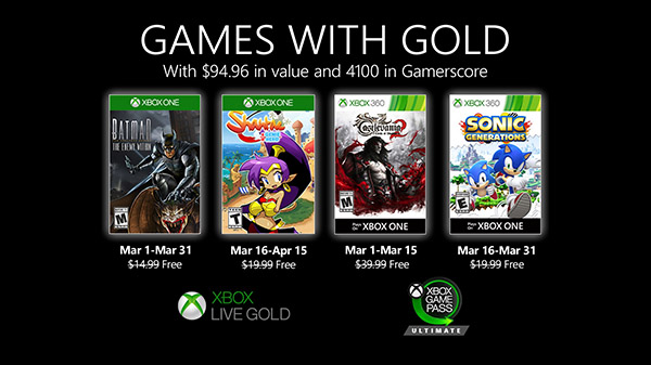 Sonic Generations will be free with 'Games with Gold' on March 2020